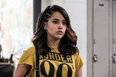 A new Power Rangers photo has been revealed online and features Rita Repulsa vs Trini, The Yellow Ranger (played by Becky G in the 2017 film). Power Rangers 2017, Naomi Scott Power Rangers, Power Rangers Reboot, Rita Repulsa, Becky G Power Ranger, Hollywood, Trini Kwan, Super Heroine, Gay