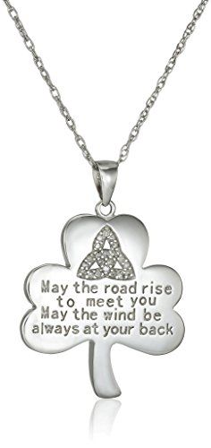 Sterling Silver Pendant Necklace with Diamonds and Irish Quote (1/10 cttw, J Color, I3 Clarity)
