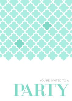 Moroccan Pattern Party Invite Teal designed by L|B designs. on pingg.com