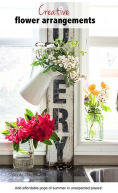 Instant, creative flower displays for summer decorating! By Funky Junk Interiors for ebay.com