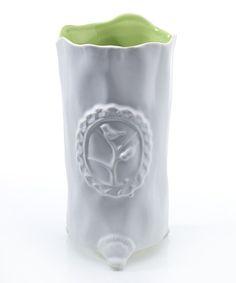 Look what I found on #zulily! White & Green Emblem Vase by Accent Décor #zulilyfinds