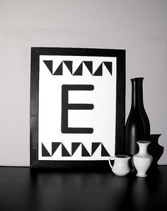 handmade alphabet letter E collage