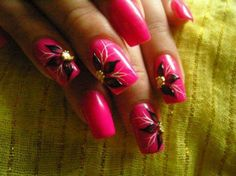 Bright pink flower nail art