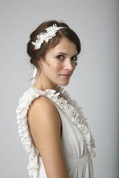 Vintage lace trim bridal headband on off white silk ribbon ties. $48.00, via Etsy.