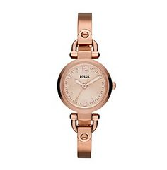 Fossil® Women's Mini Georgia Bangle Watch in Rose Goldtone with Adjust-O-Matic Links