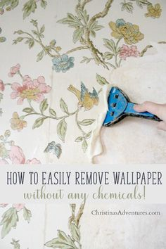Great sanity saving tips for removing wallpaper from plaster walls without chemicals! These methods to remove wallpaper are easy, practical and DIY friendly.
