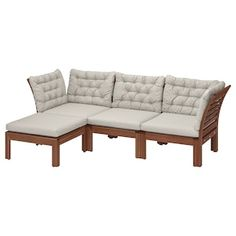 ÄPPLARÖ modular sofa, outdoor - with footstool brown stained, Kuddarna gray - IKEA Outdoor Seat Pads, Outdoor Cushion Covers, Outdoor Seat Cushions, Cushions On Sofa, Outdoor Sofa, Outdoor Furniture, Modular Corner Sofa, Modular Sofa, Ikea Family