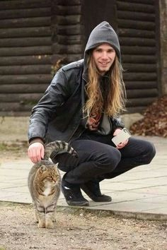 Long haired man. Animal lovers :P
