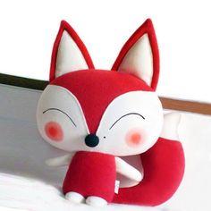 cute fox plush cushion