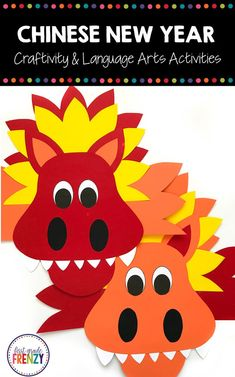 Your students will love celebrating Chinese New Year with this fun dragon craftivity.  Plus, this packet also includes Language Arts activities that can be used for a reading or writing lesson to extend the learning.  A word wall,  writing prompts, graphic organizers and more make this the perfect activity.  #craftivity #languagearts #elementaryart #chinesenewyear
