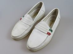 Vintage Gucci Men's Shoes White Beige Leather Italy Loafers US 9 EU 42  #Gucci #Loafers