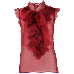 Oscar de la Renta Sleeveless Organza Ruffle Placket Blouse (40,715 DOP) ❤ liked on Polyvore featuring tops, blouses, shirts, red, blusas, organza blouse, red shirt, red ruffle blouse, sleeveless shirts and frilly shirt