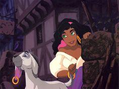 Disney Hunchback of Notre Dame - Esmeralda & Djali Walt Disney Animation, Walt Disney World, Disney Pixar, Disney Characters, Disney Princesses, Animation Films, Esmeralda Disney, Megara Disney, Disney And More