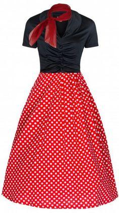 LindyBop Elsa šaty, červené s puntíky a šátečkem