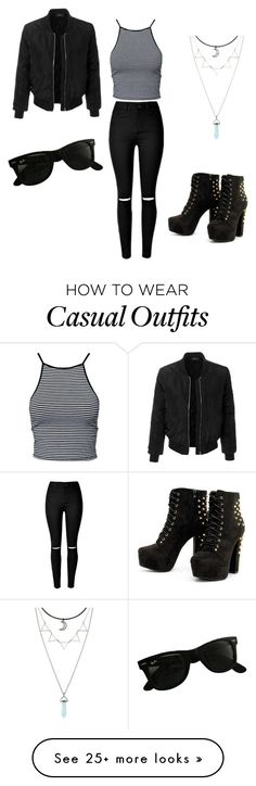 """""""casual wear"""" by renee-john22 on Polyvore featuring Estradeur, LE3NO and Ray-Ban"""