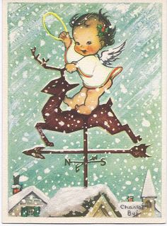 Christmas Greeting Card:  Christmas Greeting Card:  Baby angel on a reindeer weather vane in the snow with halo in its hand