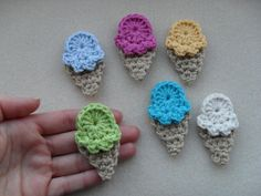 PDF PATTERN  crochet applique ice creams by YellowSherbet on Etsy, £1.80