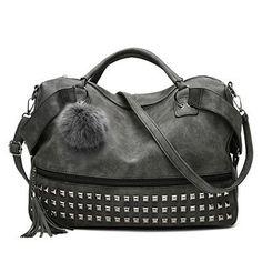 Women s Handbags Leather Rivet Boston Female Shoulder Bags Nubuck Vintage  Messenger Bag Motorcycle Crossbody Bags For Women Bag 7f2e81fecd53c