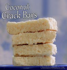 COCONUT CRACK BARS 1 cup shredded coconut, 1/2 tsp vanilla extract, 1/8 tsp salt, 1/4 cup... Full recipe: http://chocolatecoveredkatie.com/2012/08/30/no-bake-coconut-crack-bars/