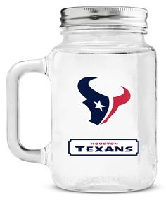 New! Houston Texans Mason Jar Glass With Lid #HoustonTexans