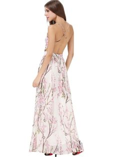 Hibiscus Florals V-neck Spaghetti Straps Backless Maxi Dress