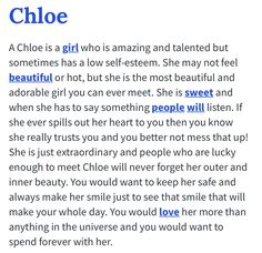 the name chloe | Acrostic Name Poems For Girls: Chloe ...