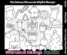 Shop for christmas on Etsy, the place to express your creativity through the buying and selling of handmade and vintage goods. Christmas And New Year, Winter Christmas, Holiday, White Image, Digi Stamps, Candy Cane, Line Art, Fairy Tales, Stencils