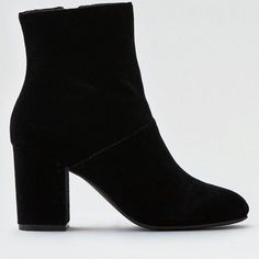 AE Velvet Heeled Bootie (2.575 RUB) ❤ liked on Polyvore featuring shoes, boots, ankle booties, black, short boots, black ankle boots, velvet boots, black shootie and velvet ankle boots