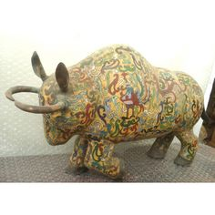 Chinese antique cloisonne bull