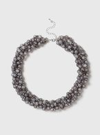 Womens Grey Twist Beaded Necklace- Grey