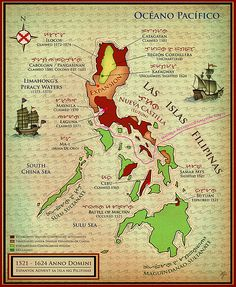 Philippines Map During Spanish Advent c 1521-1624 AD  Spain's empire soon also consisted of the Philippines and America. They wanted to acquire riches through gold and silver, and also planned on converting many to Catholicism. Unfortunately, everywhere the Spanish settled, they brought many diseases that killed a significant amount of the native people.