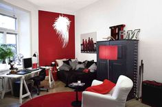 Use Brick Red and Graphite to bring big drama to a small space.