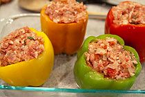 Stuffed Bell Peppers:  a take-off of one of my favorite meals.  My version involves shredded Beecher's cheddar cheese - yummy.