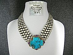Kingman Turquoise Sterling Silver Amethyst GUNDI Fabulous Silver Creations From The Southwest Designer Gundi and Lapidary Silversmith David Troutman Signature Necklace. 45 Strands of Antiqued Sterling Silver Beads 14 inches with a Huge Hook Clasp and a 4 inch extender. 2 3/4 inch Kingman Turquoise and Amethyst Cross