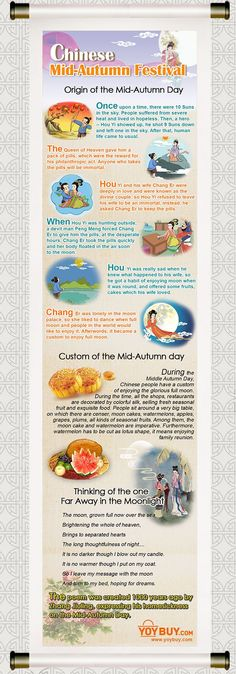 Introduction of Chinese Moon Festival It is near Chinese Mid-Autumn Festival, which is celebrated on 15th of the 8th month according to Chinese lunar calendar. It is known that most Chinese festivals are imbedded in various legends, and the Mid-Autumn Festival is no exception.