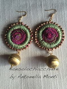 Hoop earrings crochet/ beads and metal balls by nonsolochiacchiere