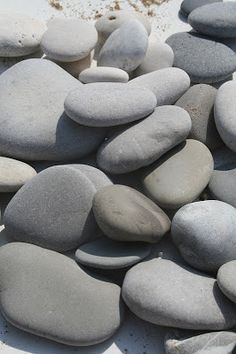 """""""Trudging back over pebbles and sand / And a strange dust lands on your hands / (And on your face)"""" - MORRISSEY - (Photo by Hemma Igen) Touch Of Gray, Black And Grey, Smooth Rock, Gray Rock, Gray Aesthetic, Aesthetic Themes, Rock And Pebbles, The Beach, Gray Matters"""