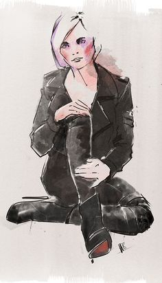 Leather is the new denim - Fashion illustration by Hilbrand Bos