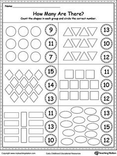 Count the Shapes in Each Group Worksheet. Practice counting and identifying numbers and 14 with this printable worksheet.**FREE** Count the Shapes in Each Group Worksheet. Practice counting and identifying numbers and 14 with this printable worksheet. Numbers Preschool, Learning Numbers, Preschool Printables, Preschool Learning, Math Numbers, Preschool Shapes, Teen Numbers, Montessori Preschool, Montessori Elementary