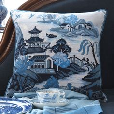 Willow Pattern Blue - Ehrman Tapestry Alex Beattie found this pattern in the ceramics department of the Victoria and Albert Museum and has turned it, brilliantly, into needlepoint. Tapestry Online, Tapestry Kits, Blue Willow China, Blue China, Needlepoint Pillows, Needlepoint Patterns, Cross Stitch Pillow, Willow Pattern, Embroidered Cushions