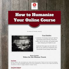 How to humanize your online course: A buffet of emerging tools selected for their humanizing characteristics.