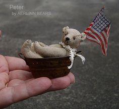 Peter, Miniature 2 3/4 inch collectible Bear by Aerlinn Bears