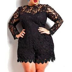 8d2302859f2f Stylish Round Neck Long Sleeve Solid Color Plus Size Lace Women s Romper  Plus Size Dresses
