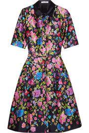 Oscar de la RentaFloral-print silk and cotton-blend satin dress