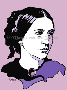 Contemporary handmade artwork of German pianist and composer Clara Schumann, Limited Edition Print, Women in Music