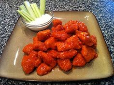 Boneless Buffalo Wings    1 lb. Boneless Skinless Chicken Breast - cut into large chunks  1 1/2 cups crushed pork rinds  1/2 Cup grated Parmesan Cheese  3/4 Cup Franks Red Hot Wing Sauce  2 Tbs. Butter  1/2 tsp Garlic Powder  (2 Tbs. Peace and Love)  Olive | http://bestfoodsforyourhealth.blogspot.com
