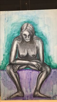 Oilpainting nude nackt Woman Frau Akt Drawing Sketches, Drawings, Watercolor Pencils, Illustration Art, Black And White, Abstract, Painting, Etsy, Green And Purple
