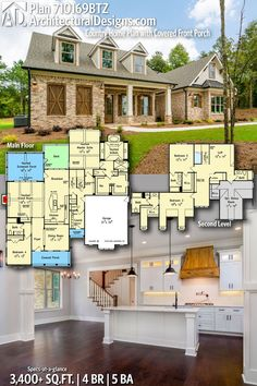 Architectural Designs Farmhouse Plan gives you 4 bedrooms, 5 baths and sq. Ready when you re! Where do YOU want to build? Craftsman House Plans, Country House Plans, Dream House Plans, House Floor Plans, Farmhouse Plans, Modern Farmhouse, Rustic Country Homes, House Blueprints, Dream House Exterior