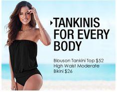Tankinis for Every Body. Blouson Tankini Top $52, High Waist Moderate Bikini $26.