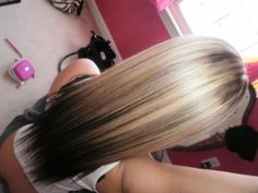 Wonder if this would look good reversed..started with black hair roots midway brown then fade to a shade of blonde